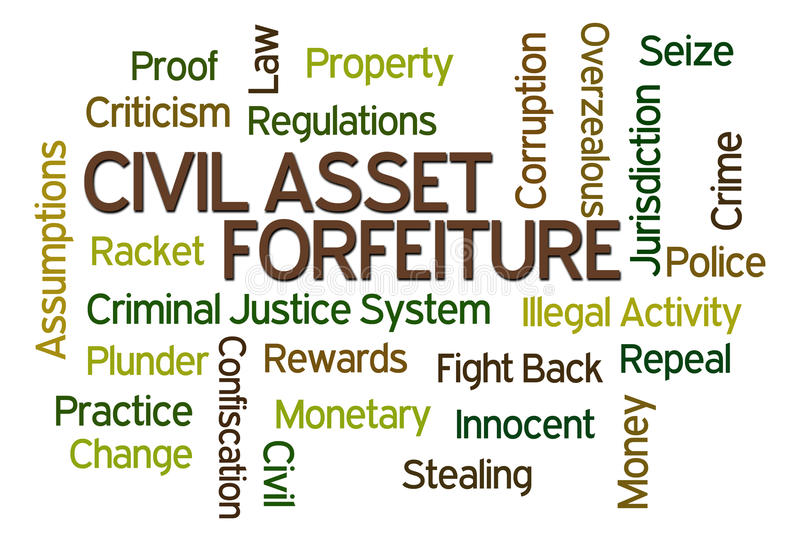 Civil Asset Forfeiture. Word cloud on white background stock illustration