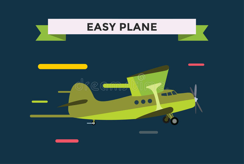 Civil aviation travel small easy passenger air. Plane vector illustration. Civil commercial small private airplane flying vector silhouette. Travel plane on royalty free illustration