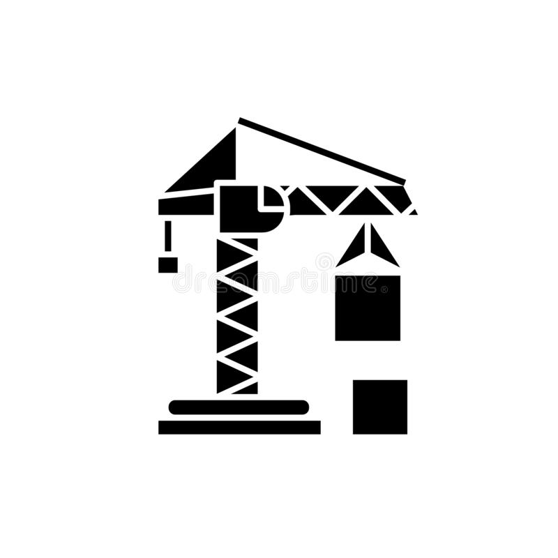 Civil construction crane black icon, vector sign on isolated background. Civil construction crane concept symbol. Civil construction crane black icon, concept stock illustration