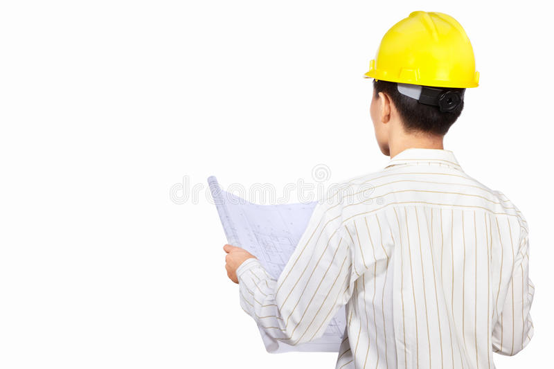 Civil engineer body part. With paperwork, isolated on white background stock photos
