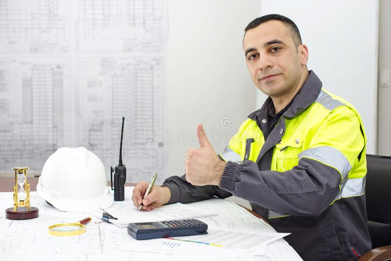 Civil Engineer At Construction Office stock images