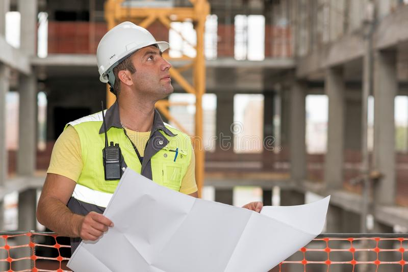 Civil Engineer At Construction Site royalty free stock photos