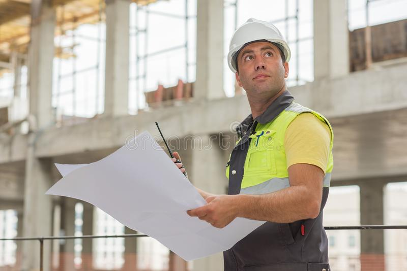 Civil Engineer At Construction Site royalty free stock photography