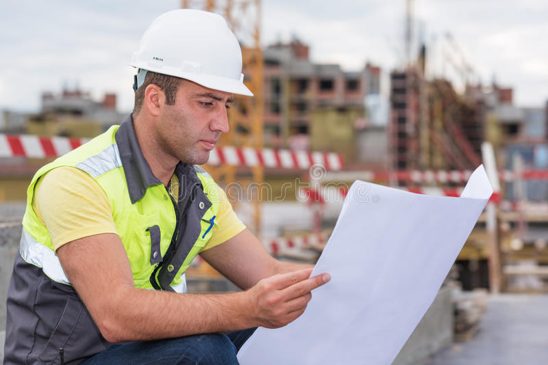 Civil Engineer At Construction Site stock photos