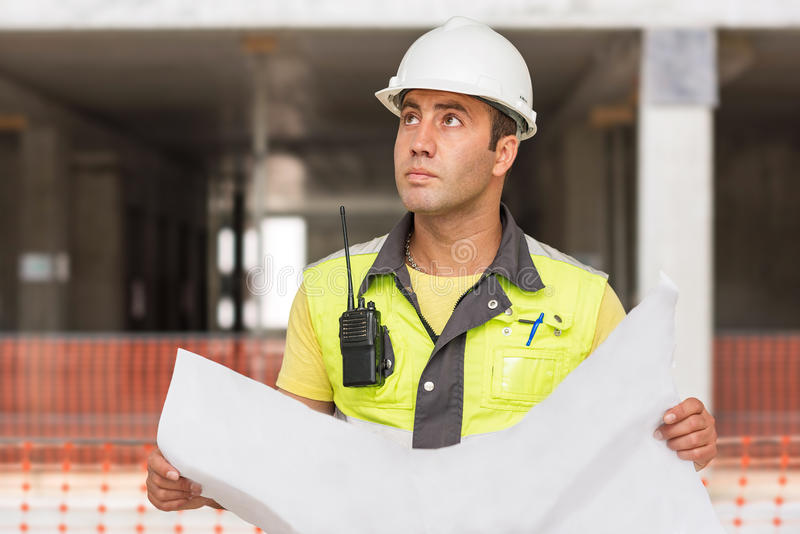 Civil Engineer At Construction Site royalty free stock image