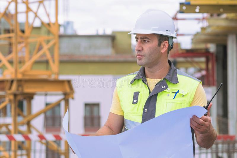 Civil Engineer At Construction Site stock images