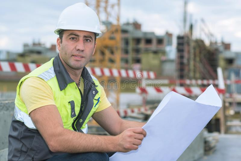 Civil Engineer At Construction Site royalty free stock photo