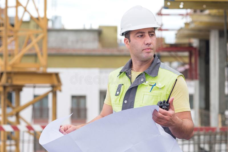 Civil Engineer At Construction Site stock photography