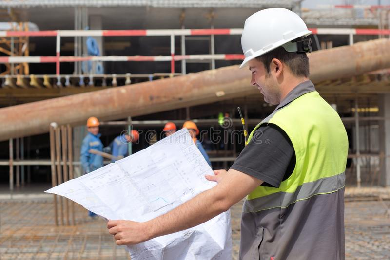 Civil Engineer At Contsruction Site royalty free stock photography