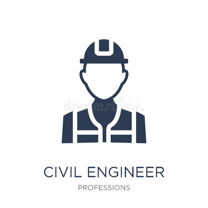 Civil Engineer icon. Trendy flat vector Civil Engineer icon on w. Hite background from Professions collection, vector illustration can be use for web and mobile royalty free illustration
