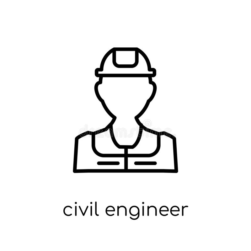 Civil Engineer icon. Trendy modern flat linear vector Civil Engineer icon on white background from thin line Professions. Collection, editable outline stroke royalty free illustration