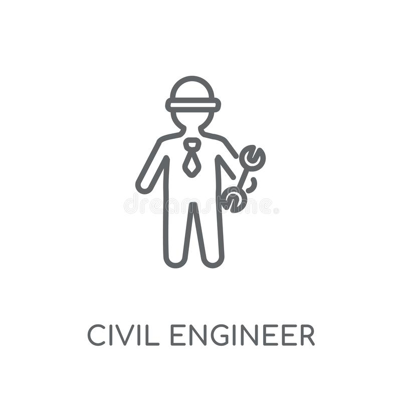 Civil Engineer linear icon. Modern outline Civil Engineer logo c. Oncept on white background from Professions collection. Suitable for use on web apps, mobile royalty free illustration