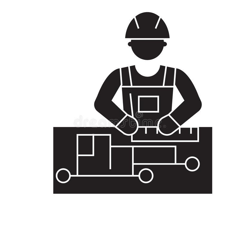 Civil engineering black vector concept icon. Civil engineering flat illustration, sign. Symbol vector illustration