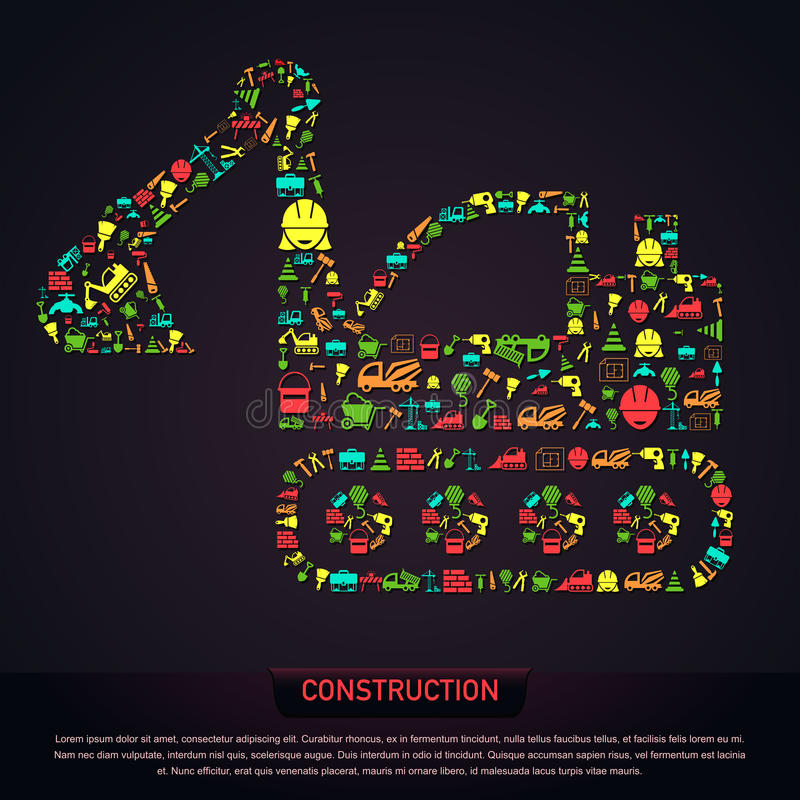 Civil engineering construction site infographic banner template. Layout icon design in excavator tractor vehicle shape of tool sign and symbol used for website vector illustration