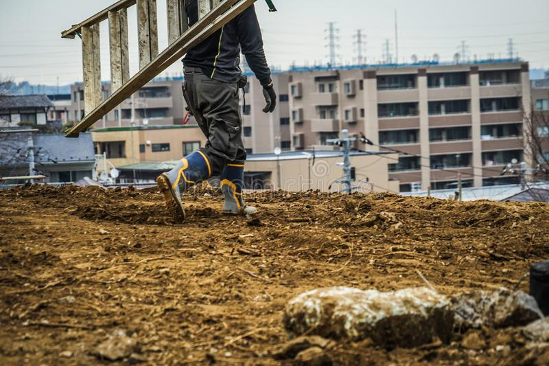 Civil engineering construction site and working landscape. Shooting location :  Yokohama-city kanagawa prefecture royalty free stock images