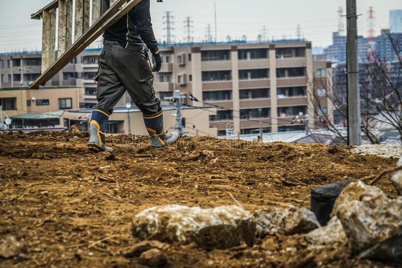 Civil engineering construction site and working landscape. Shooting location :  Yokohama-city kanagawa prefecture royalty free stock photography