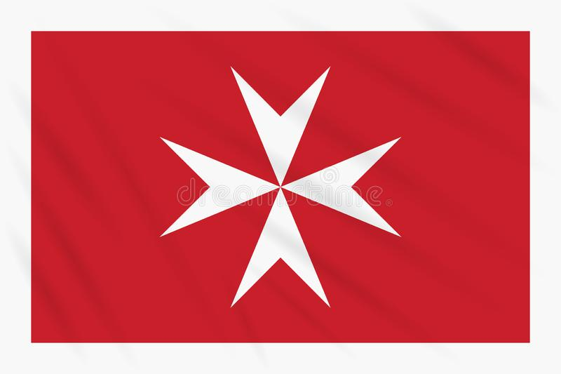 Civil ensign of Malta swaying in wind, vector. Civil ensign of Malta swaying in wind, realistic vector royalty free illustration