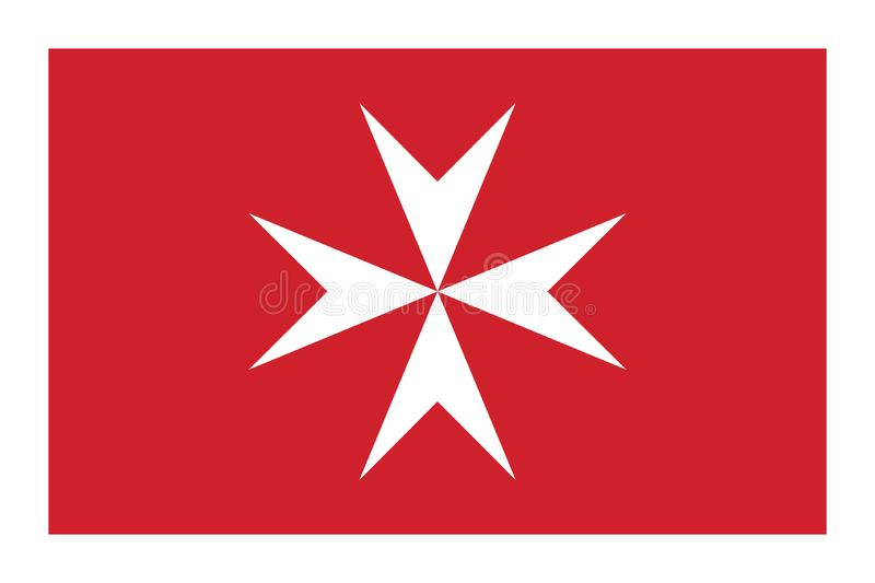 Civil flag of Malta in official rate and colors. Vector stock illustration