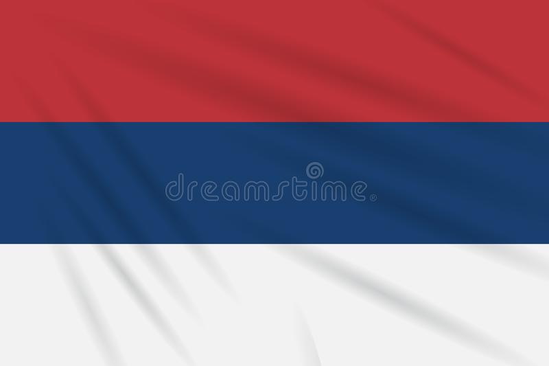 Civil flag Serbia swaying in wind realistic vector. Civil flag Serbia swaying in the wind, realistic vector royalty free illustration