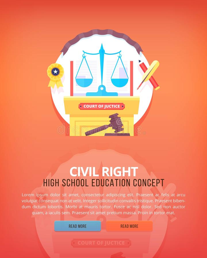 Civil law. Education and science vertical layout concepts. Flat modern style. vector illustration
