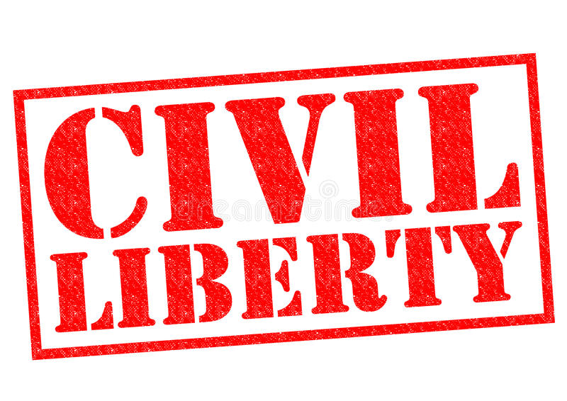 CIVIL LIBERTY. Red Rubber Stamp over a white background stock illustration
