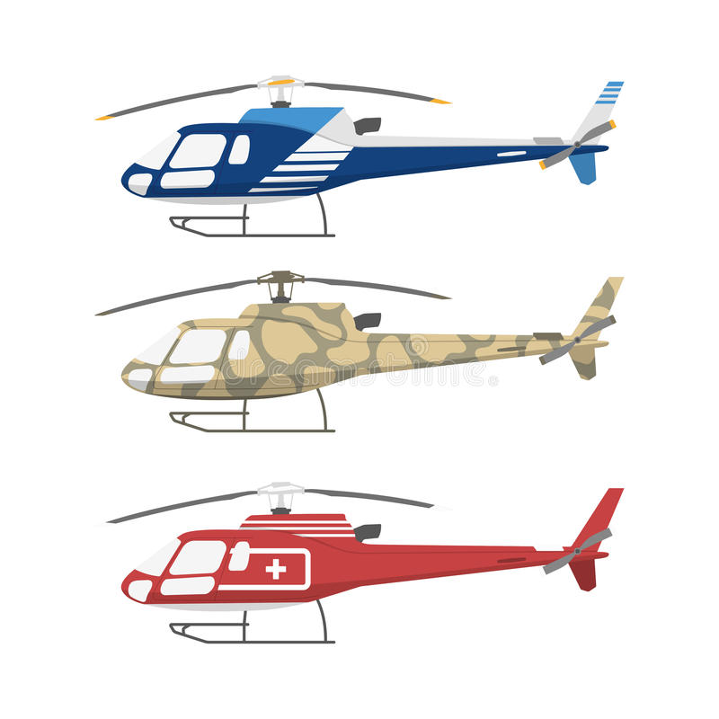 Civil , military and medical helicopters . Side view vector illustration