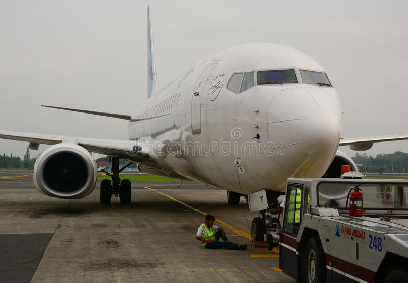 A civil plane docking at Jogja airport in Indonesia stock image