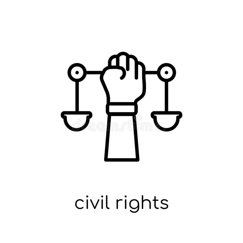 Civil rights icon. Trendy modern flat linear vector civil rights. Icon on white background from thin line law and justice collection, editable outline stroke vector illustration