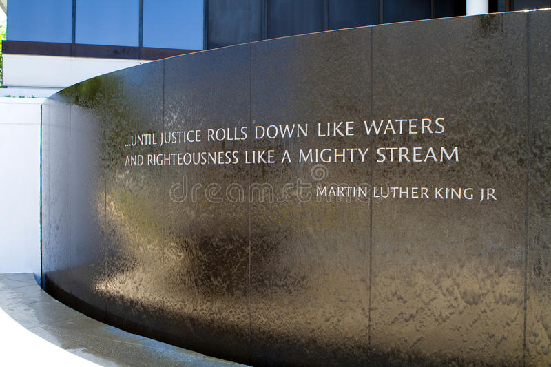 Civil Rights Memorial. Water flows down the front of the Civil Rights Memorial in Montgomery, Alabama, USA stock photo