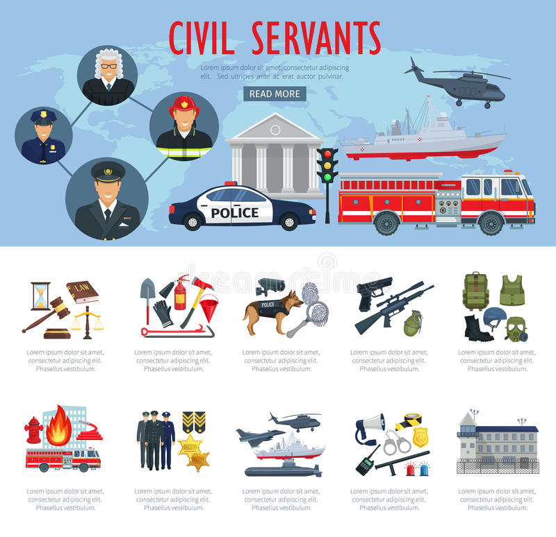 Vector poster civil servants judge police aviation. Civil servants poster or infographics. Vector firefighter, judge or policeman and pilot profession, fire vector illustration