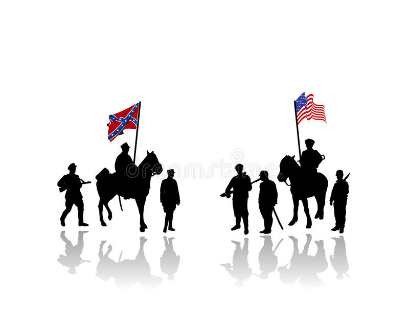 Civil war of america illustration. Vector illustration of a war scene from the civil war of america between the union and the confederate states, north and south