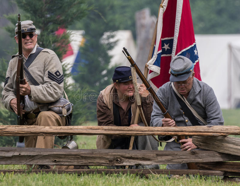 Civil War Battle. A Civil War era soldiers in battle at the Dog Island reenactment in Red Bluff, California stock image