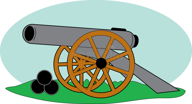 Civil War Cannon. An old cannon and cannonballs from the Civil War vector illustration