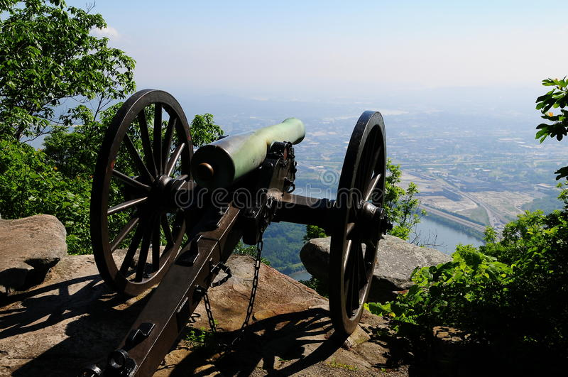 Civil War Cannon. On the mountaintop overlooking the Tennessee River royalty free stock images