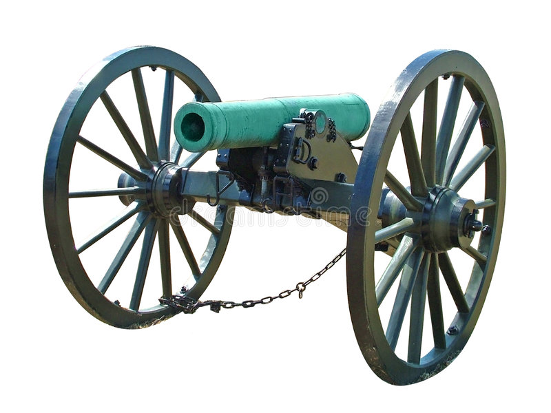 Civil war cannon. Isolated civil war cannon stock images