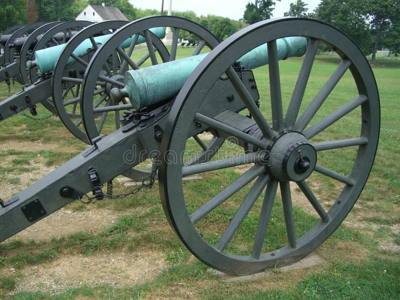 Civil War Cannons. Photo of variety of civil war cannons at Antietam battlefield in Maryland. The battle of Antietam was one of the bloodiest battles of the stock image