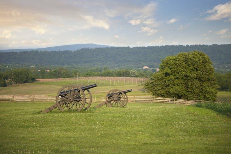 Civil War cannons at Antietam Sharpsburg battlefield in Maryla. Civil War cannons in field at Antietam Sharpsburg battlefield in Maryland royalty free stock photos