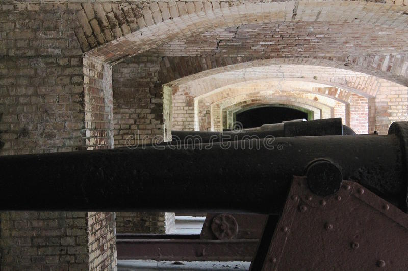 Civil War Cannons at Fort Sumter. Black Civil War Cannons at Fort Sumter in Charleston, South Carolina stock photography