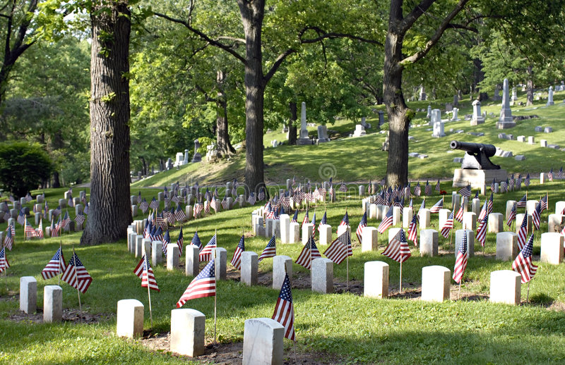Civil War Cemetery with Flags royalty free stock photography