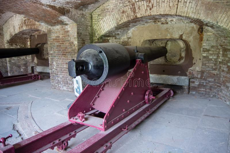 Civil War Coast Artillery Cannon in Fort Sumter. South Carolina stock photos