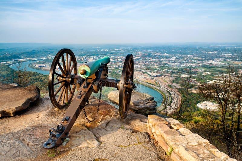 Civil war era cannon overlooking Chattanooga, TN royalty free stock photography