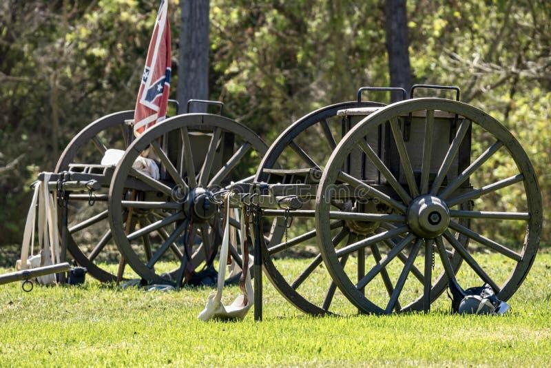 Civil War era cannons on a grassy field stock photo