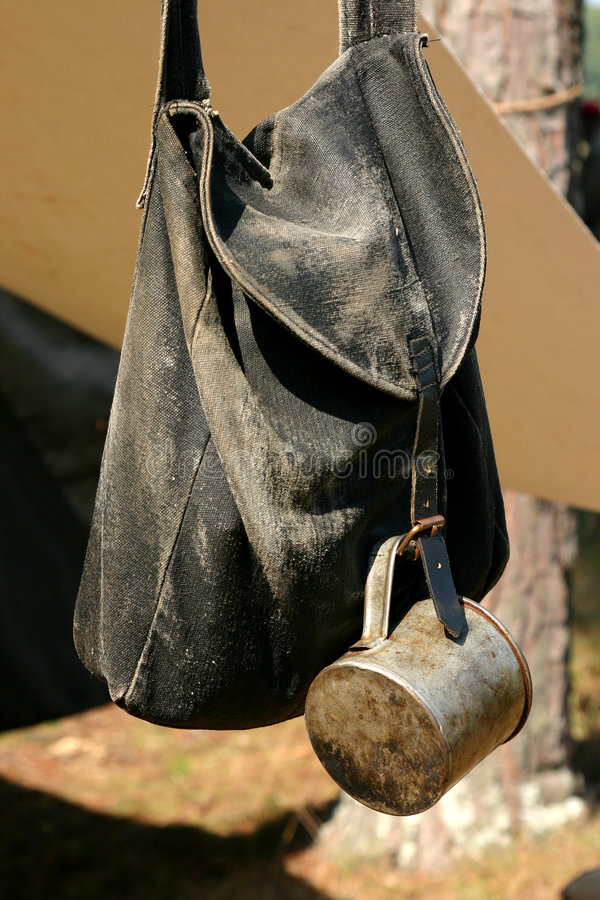 Civil war Knapsack and cup. American Civil War campsite Reenactment with knapsack and cup royalty free stock photography