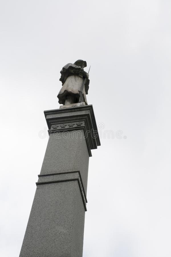 Civil war monument Marietta, Ohio. A tall monument in Marietta Ohio honoring all the soldiers that fought and died in the war between the states. The monument royalty free stock photos