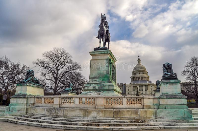 Civil War Monument in Washington D.C. A monument to the civil war stands in front of the United States Capitol Building in Washington D.C stock photography