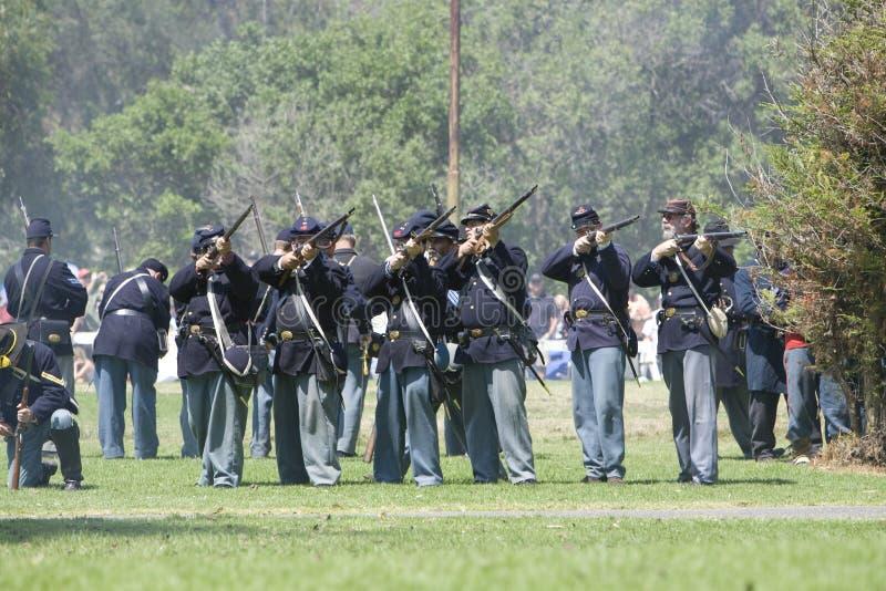 Civil War Re-Enactment 14 Union Soldiers Fire stock image