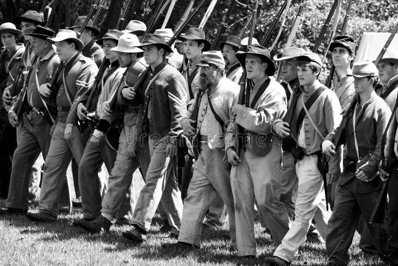 Civil War Re-Enactment 29 - Confederate March stock image