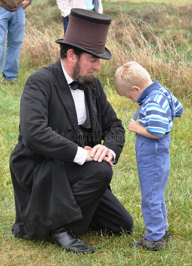 Civil War Re-enactment-Abe and Child royalty free stock images