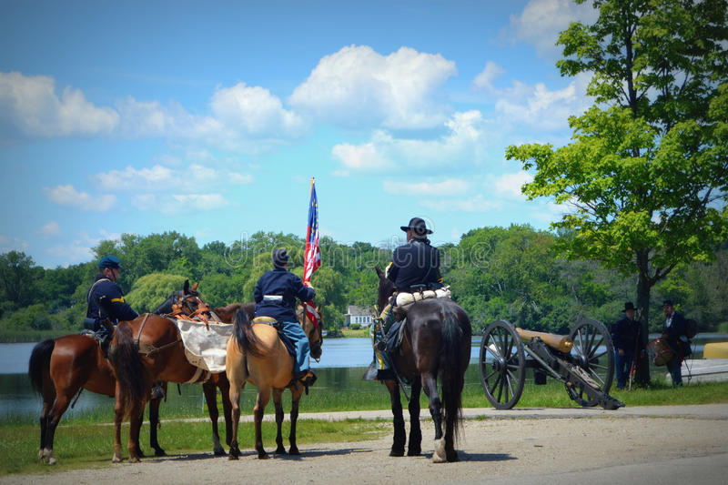 Civil War Reenactment. This is a civil war reenactment in Pell Lake, WI done every fourth of July before the parade royalty free stock image