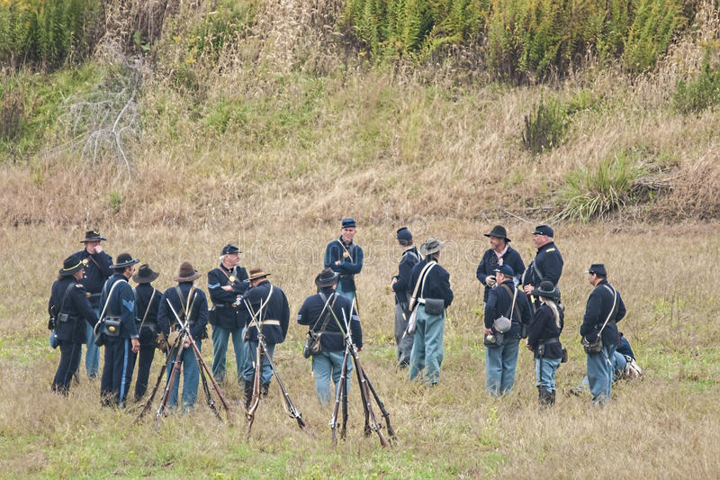 Civil War reenactment. Civil War reenactors partisipating in a reenactment of the battle of Glasgow Missouri USA royalty free stock photography